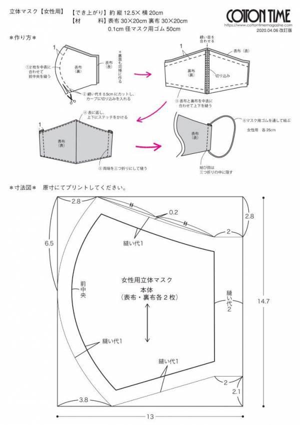 マスク の 作り方 型紙